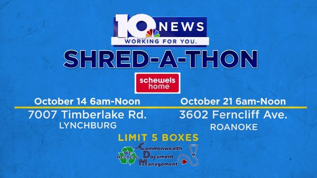 10 News Shred-A-Thon in Roanoke and Lynchburg