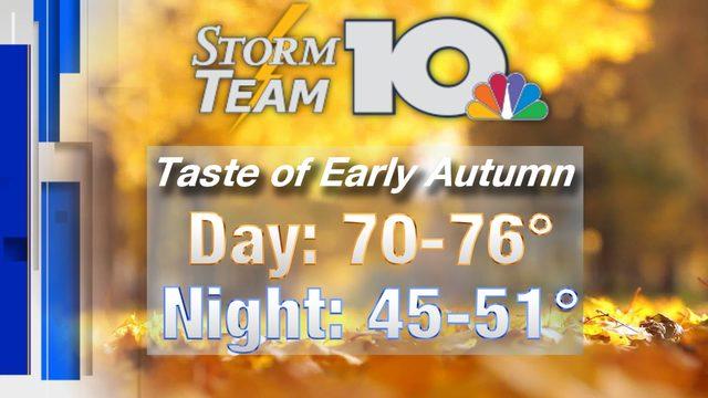 Taste of early autumn Thursday into Friday morning