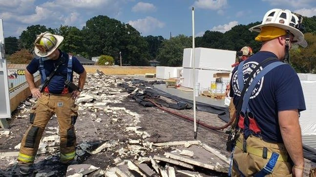 Crews respond to roof fire from a building under construction in Lynchburg