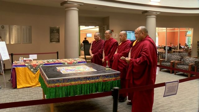 Tibetan monks at Roanoke College this week