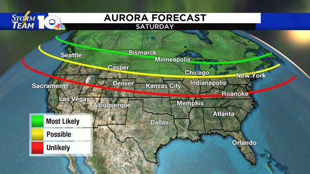 Aurora Borealis may be visible in the northern U.S. this weekend