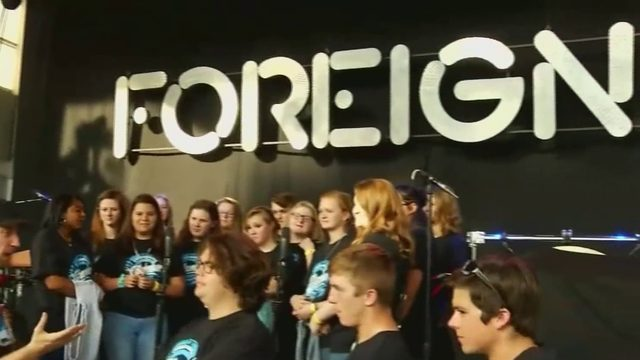 Foreigner at Elmood Park in Roanoke with Christiansburg High School choir