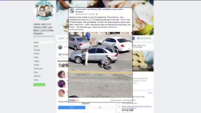 Homeless Utah man praised for changing woman's tire