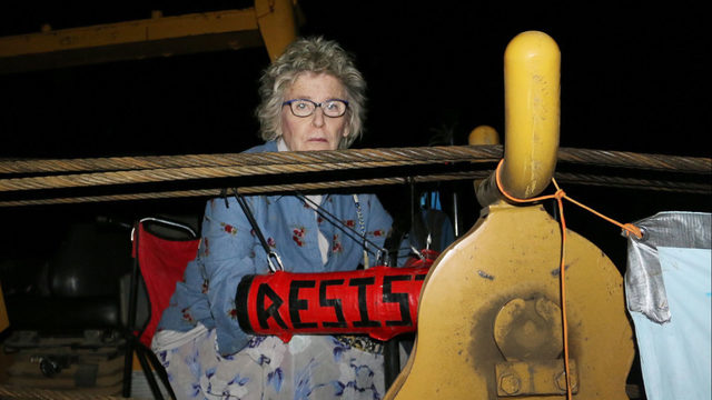 'Raging Granny' locked to equipment at Mountain Valley Pipeline…
