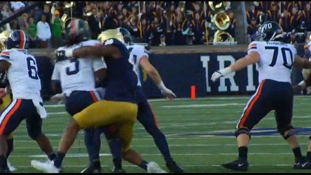 Sack-happy No. 10 Notre Dame beats No. 18 Virginia 35-20