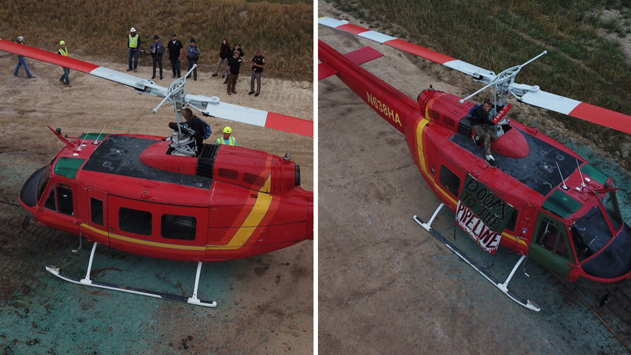 Police remove, arrest man who attached himself to Mountain Valley Pipeline helicopter