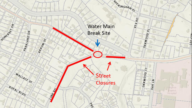 Water main break closes Lynchburg's Rivermont Ave.