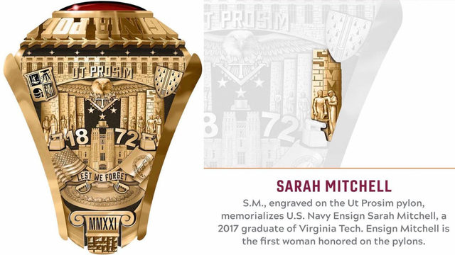Virginia Tech class ring to honor fallen alumna who died during Navy…