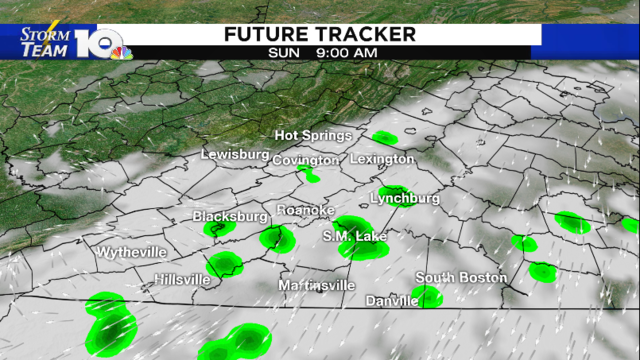 Cooler Sunday, light showers possible