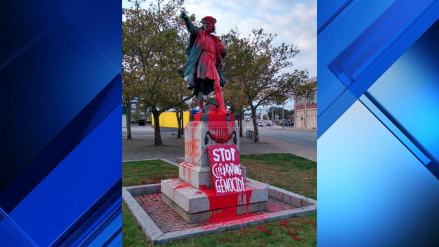 Columbus statue vandalized: 'Stop celebrating genocide'
