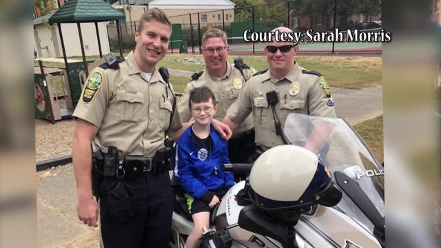 Officers surprise Virginia boy at police-themed birthday party