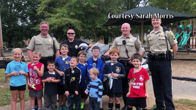 Police officers surprise 9-year-old Virginia boy at birthday party