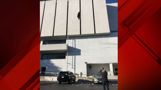 Car goes through Lynchburg parking garage wall, causing wall to collapse…