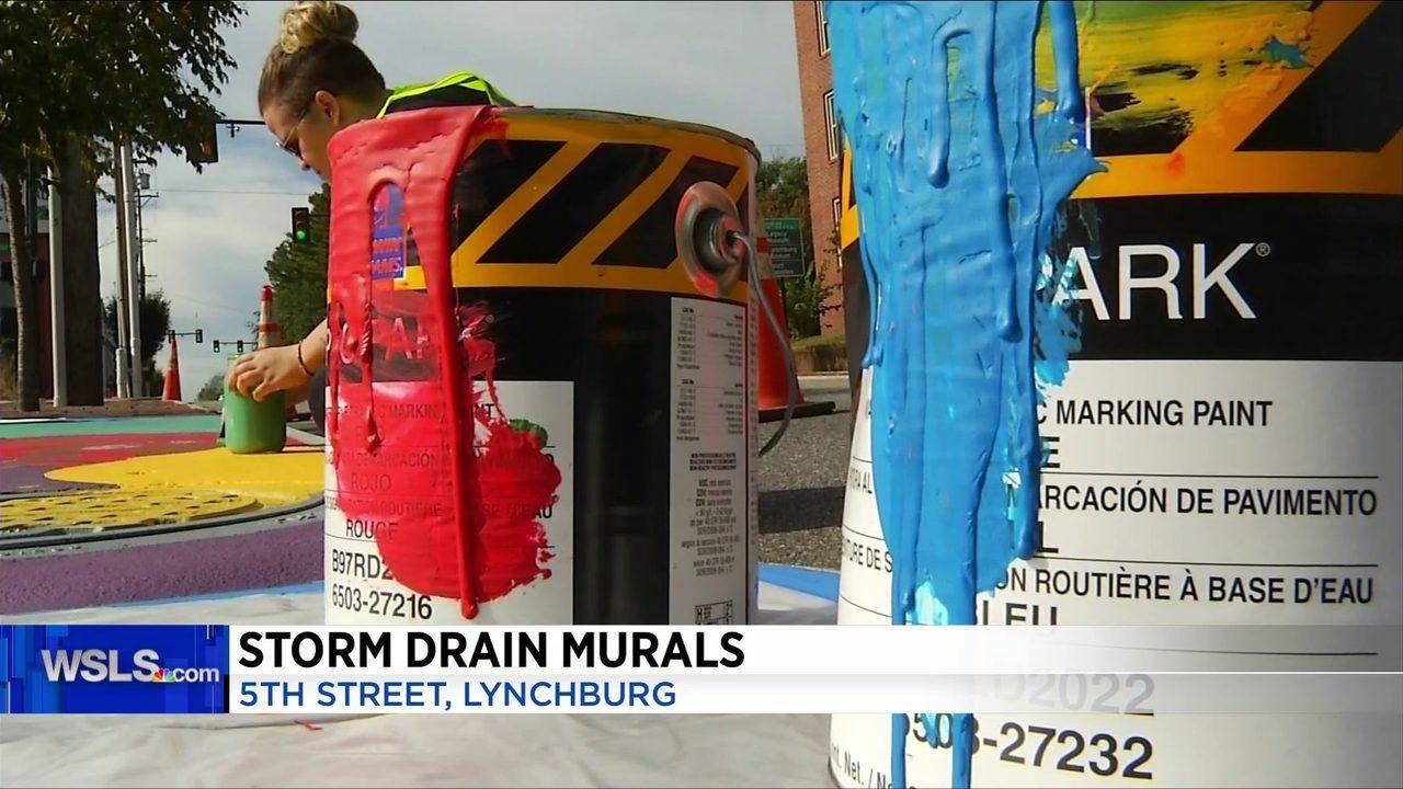 Artists paint Lynchburg storm drains to encourage environmental awareness
