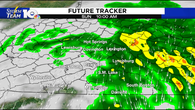 Sunday morning rain, then drying out