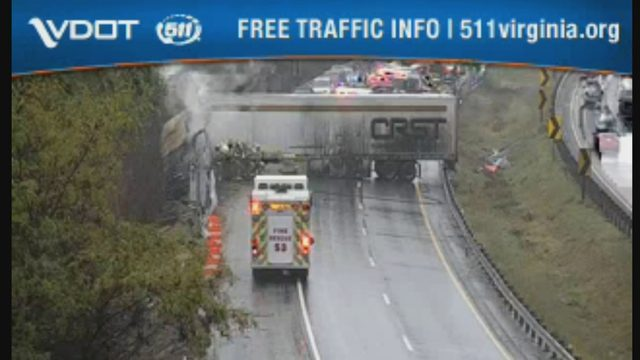 2 tractor-trailers catch fire
