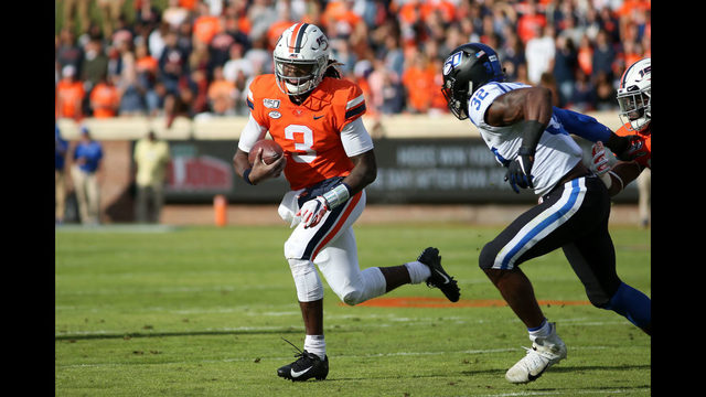 Perkins, defense lead Virginia in 48-14 rout of Duke