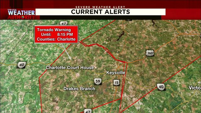 Tornado warnings were issued for Halifax, Charlotte counties Thursday night