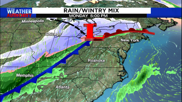 Next cold front brings potential for winter precipitation