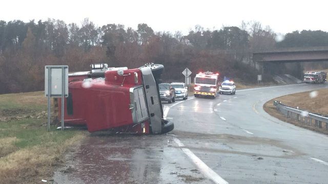 Tractor-trailer overturns on Danville Expressway